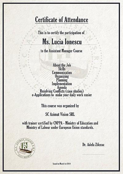 certificat curs assistant manager