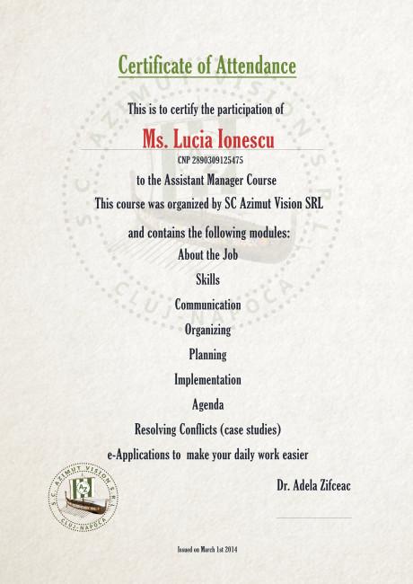 certificat curs online asistent manager