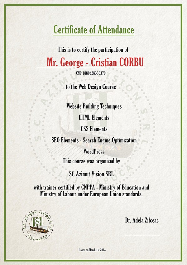 certificat curs web design online
