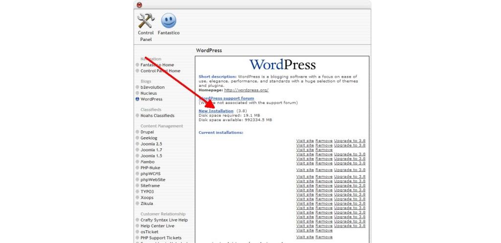 wordpress new instalation