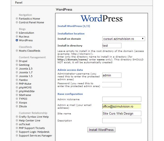 wordpress instalation 2