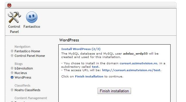 instalare wordpress 3