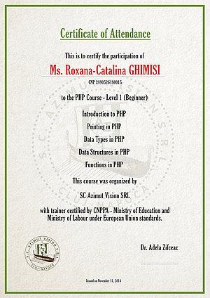 certificat curs php incepatori b